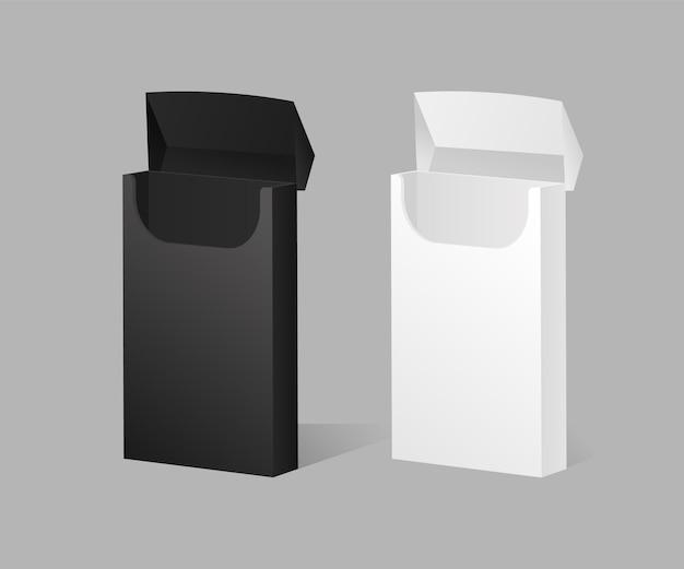 Modello aperto del pacchetto di sigarette in bianco e nero prodotto di tabacco elegante vuoto