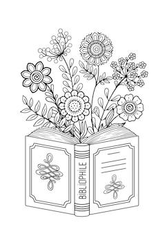 Pagina da colorare in bianco e nero per adulti. libro aperto. libro di lettura, concetto di immaginazione con fiori e farfalle scarabocchiati