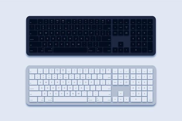Tastiera del computer in bianco e nero