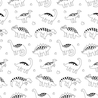 Dinosauri di contorno in bianco e nero. modello senza soluzione di continuità