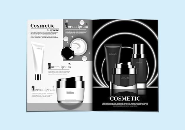 Prodotti cosmetici in bianco e nero su due tonalità di colore