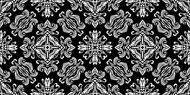 Reticolo senza giunte del damasco bianco e nero. design ripetuto in tessuto tessile.