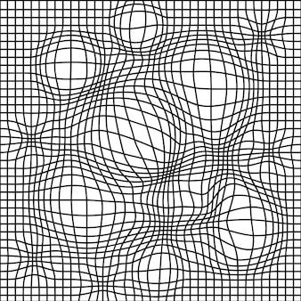 Reticolo senza giunte di griglia distorta in bianco e nero. illustrazione vettoriale. deforn griglia, distorsione, concetto di carta da parati senza cuciture techno