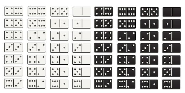 Set completo di domino in bianco e nero in stile design piatto