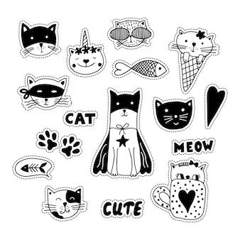 Stikers di doodle in bianco e nero