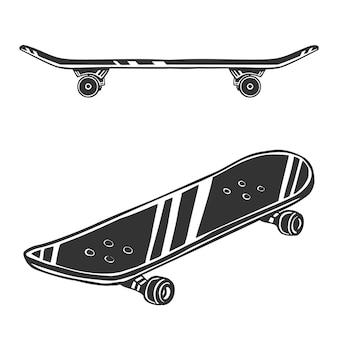 Disegno di skateboard in bianco e nero, isolato su priorità bassa bianca.