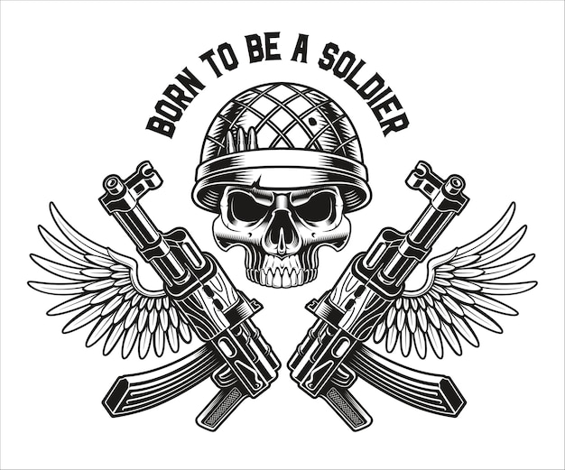 Un emblema in bianco e nero di un teschio militare con fucili kalashnikov