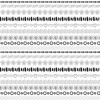 Sfondo nero e bianco senza soluzione di pattern etnica. stampa di tessuti di moda o design del pacchetto