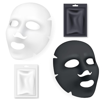 Maschera cosmetica facciale in bianco e nero isolata su bianco