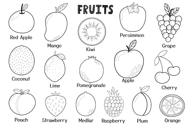 Raccolta di frutti in bianco e nero elementi isolati di cibo sano in stile cartone animato