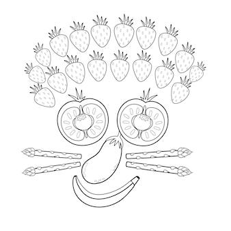 Divertente faccia sorridente di frutta e verdura in bianco e nero pagina da colorare di cibo divertente con pomodori