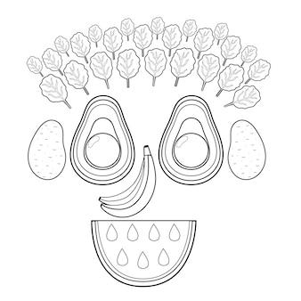 Divertente faccia sorridente di frutta e verdura in bianco e nero pagina da colorare di cibo divertente