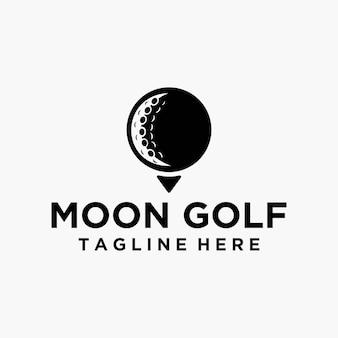 Vettore di logo della luna di golf in bianco e nero