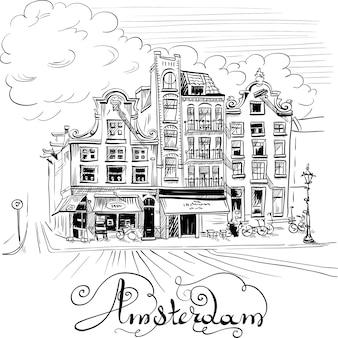 Disegno a mano in bianco e nero, vista sulla città delle case tipiche di amsterdam, olanda, paesi bassi.