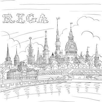 Schizzo di disegno a mano in bianco e nero della città vecchia e del fiume daugava riga lettonia