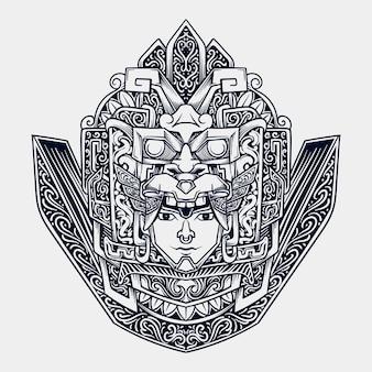 Illustrazione incisa testa azteca disegnata a mano in bianco e nero