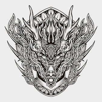 Illustrazione incisa testa di drago disegnata a mano in bianco e nero