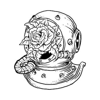 Illustrazione disegnata a mano in bianco e nero antico casco da sub e rosa