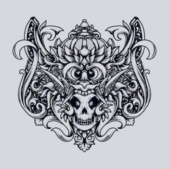 Illustrazione disegnata a mano in bianco e nero ornamento barong incisione del cranio