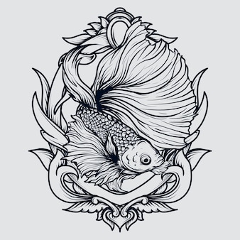 Bianco e nero illustrazione disegnata a mano pesce betta incisione ornamento