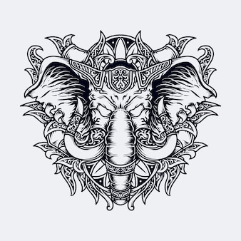 Bianco e nero illustrazione disegnata a mano testa di elefante incisione ornamento