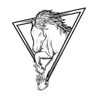 Illustrazione disegnata a mano in bianco e nero cavallo nel triangolo