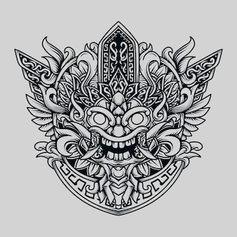 Illustrazione disegnata a mano in bianco e nero barong maya