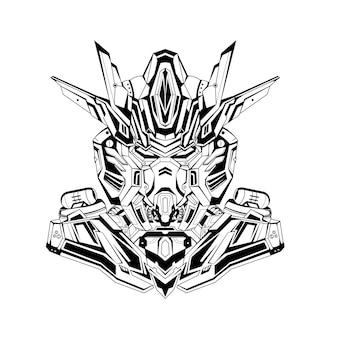Tatuaggi robotici di mecha gundam dell'illustrazione disegnata a mano in bianco e nero