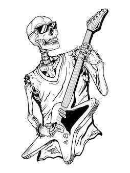 Illustrazione disegnata a mano in bianco e nero scheletro rock star con chitarra cranio premium