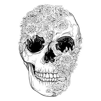 Illustrazione disegnata a mano in bianco e nero premium teschio e fiori