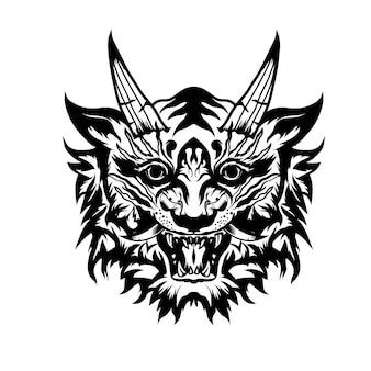 Illustrazione disegnata a mano in bianco e nero tatuaggi tigre giappone