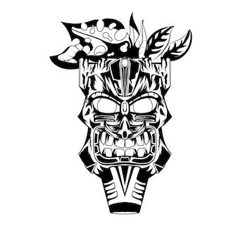 Illustrazione disegnata a mano in bianco e nero tiki maschera tatuaggi diavolo indiano