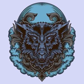 In bianco e nero illustrazione disegnata a mano lupo incisione ornamento