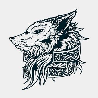 Testa di lupo illustrazione disegnata a mano in bianco e nero