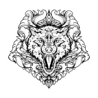 Illustrazione disegnata a mano in bianco e nero lupo con incisione ornamento premium