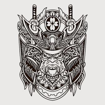 Illustrazione incisa scimmia samurai disegnata a mano in bianco e nero