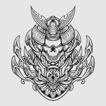Ornamento incisione teschio samurai disegnato a mano in bianco e nero