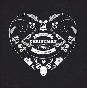 Modello in bianco e nero a forma di cuore di buon natale e felice anno nuovo.