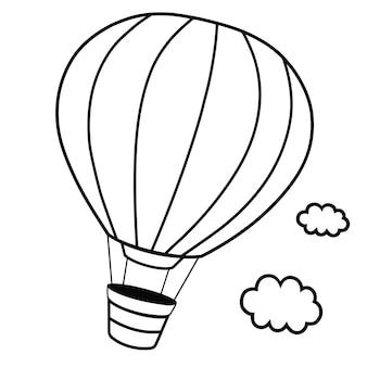 Illustrazione vettoriale di palloncino per capelli caldi in bianco e nero
