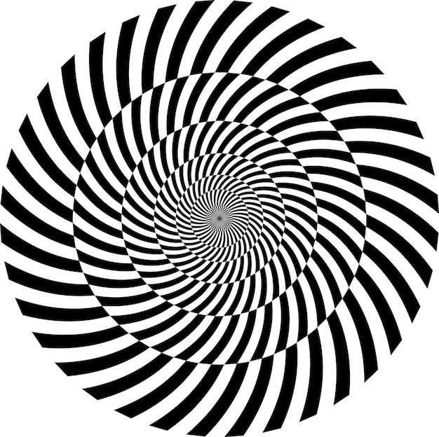 Sfondo ipnotico in bianco e nero. illustrazione vettoriale