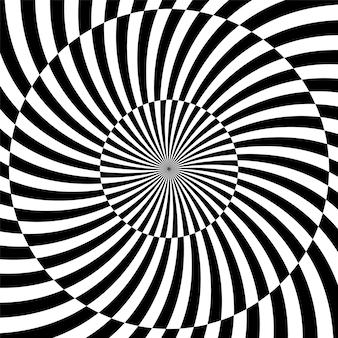 Sfondo ipnotico in bianco e nero. illustrazione vettoriale.