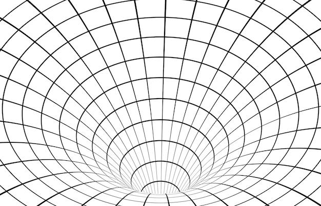 Fondo di illusione ottica del tunnel wormhole ipnotico in bianco e nero.
