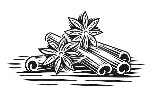 Un'illustrazione in bianco e nero di bastoncini di cannella in stile incisione su sfondo bianco