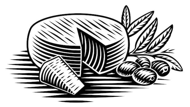 Un'illustrazione in bianco e nero di un pezzo di formaggio in stile incisione su sfondo bianco