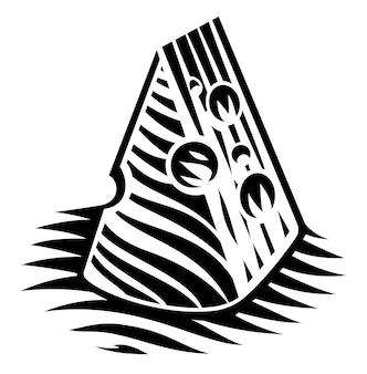 Un'illustrazione in bianco e nero di un pezzo di formaggio nello stile dell'incisione