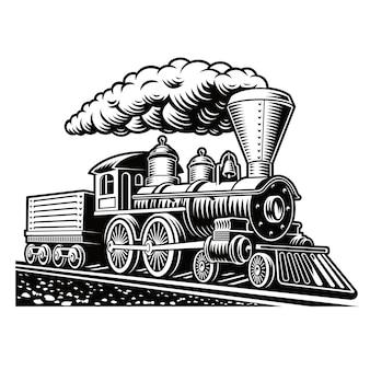 Un'illustrazione in bianco e nero di un treno retrò isolato su sfondo bianco