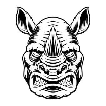 Un'illustrazione in bianco e nero di una testa di rinoceronte, isolata su sfondo bianco.