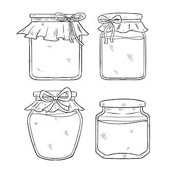 Illustrazione in bianco e nero del barattolo con stile disegnato a mano o di schizzo