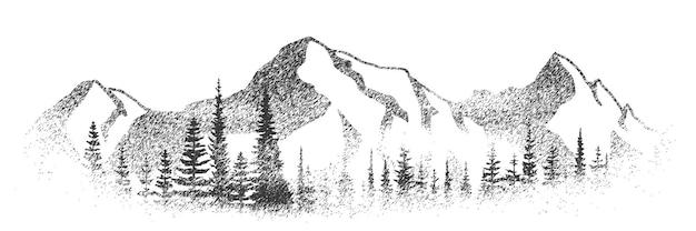 Paesaggio in bianco e nero, foresta di abete rosso sullo sfondo di montagne innevate, vignette