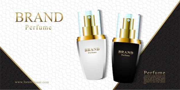 Banner in pelle bianco e nero per cosmetici